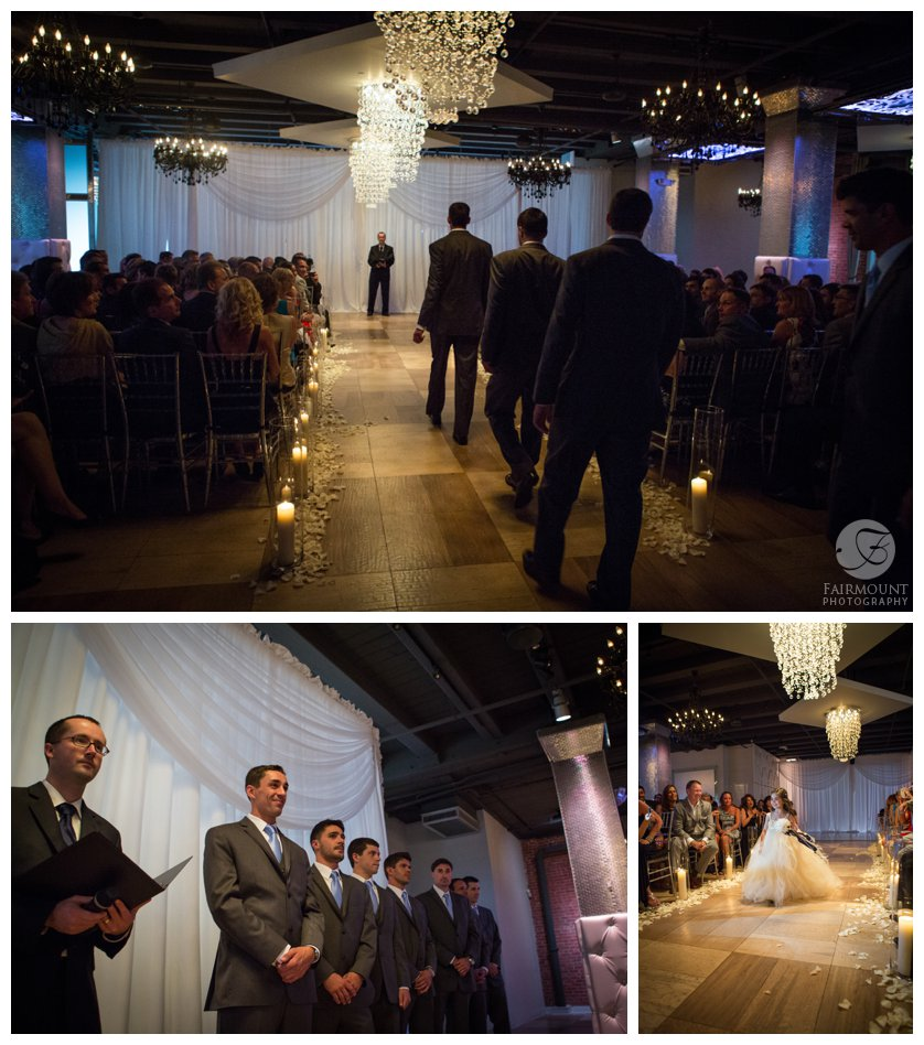groomsmen enter for wedding ceremony at Northern Liberties venue