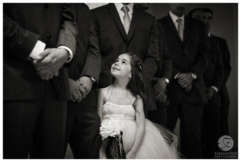 flower girl with groomsmen