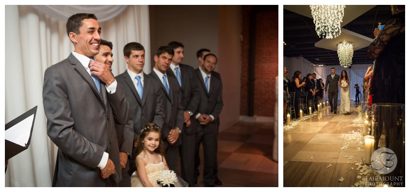 groom watches bride walk down the aisle