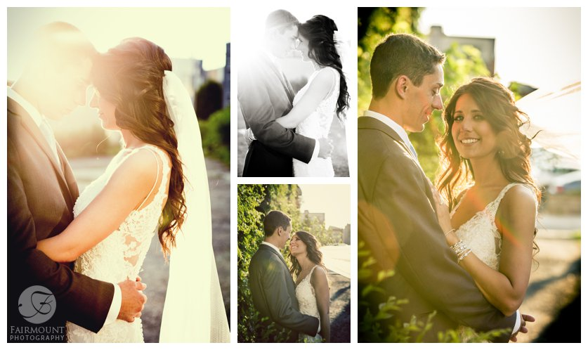 elegant and romantic bridal portraits with sunglare