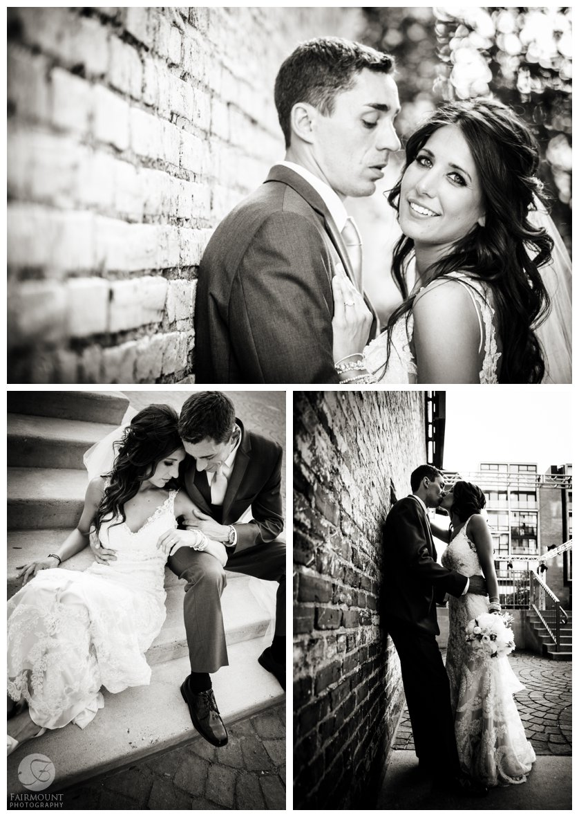 dramatic black & white bridal portraits by brick wall in the Piazza in Philly