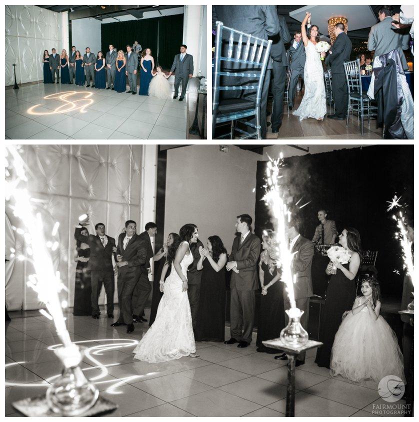 bride & groom enter Tendenza wedding reception with sparklers