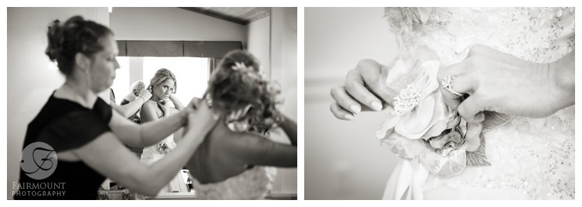 black and white bride getting ready photos