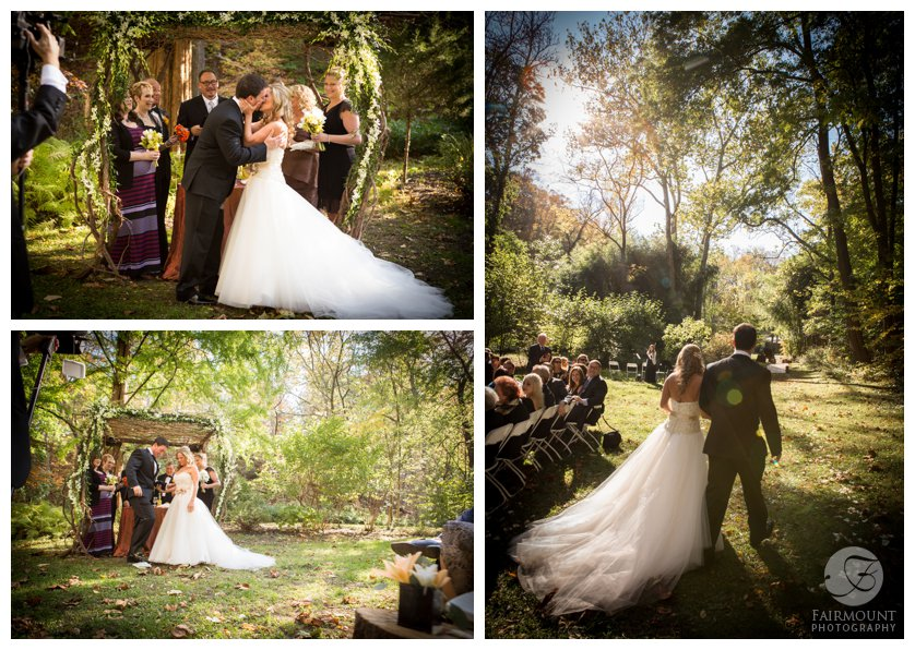 outdoor ceremony at the Old Mill in Rose Valley in October