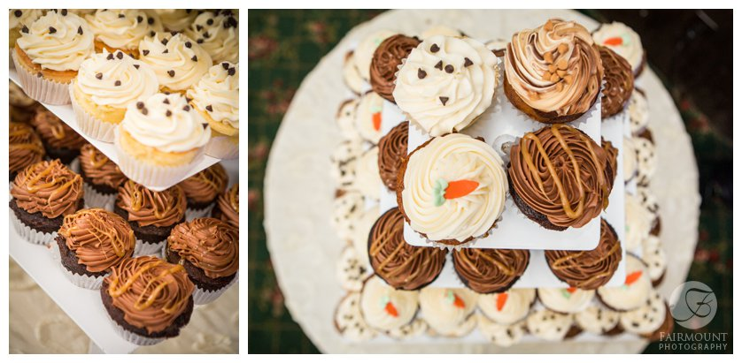cupcake wedding cake with four different flavors