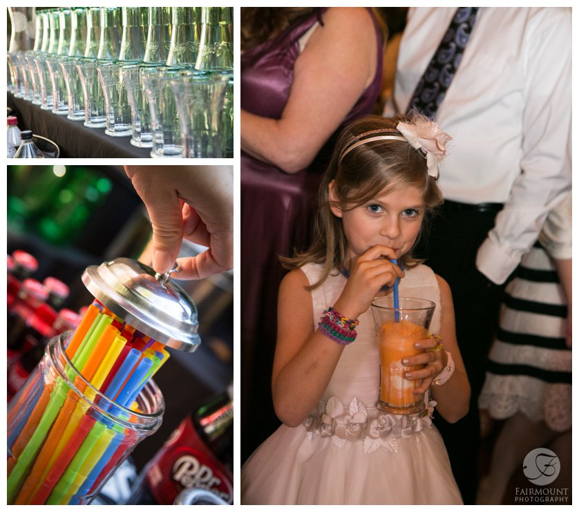 Rootbeer float bar at outdoor wedding