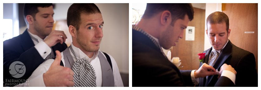 groom's brother helps him put on cravat and straighten pocket-square