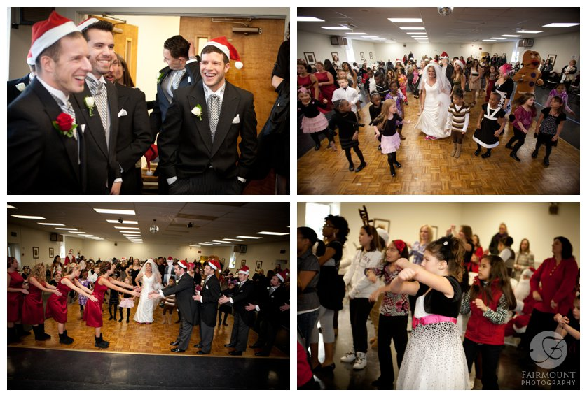 groomsmen in santa hats, holiday flash mob