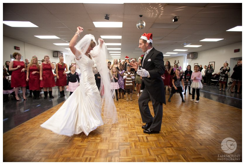 bride & groom have a solo in flash mob after wedding
