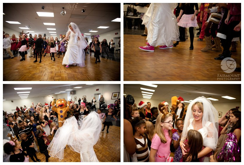 dance students gather around bride after holiday flash mob at her wedding