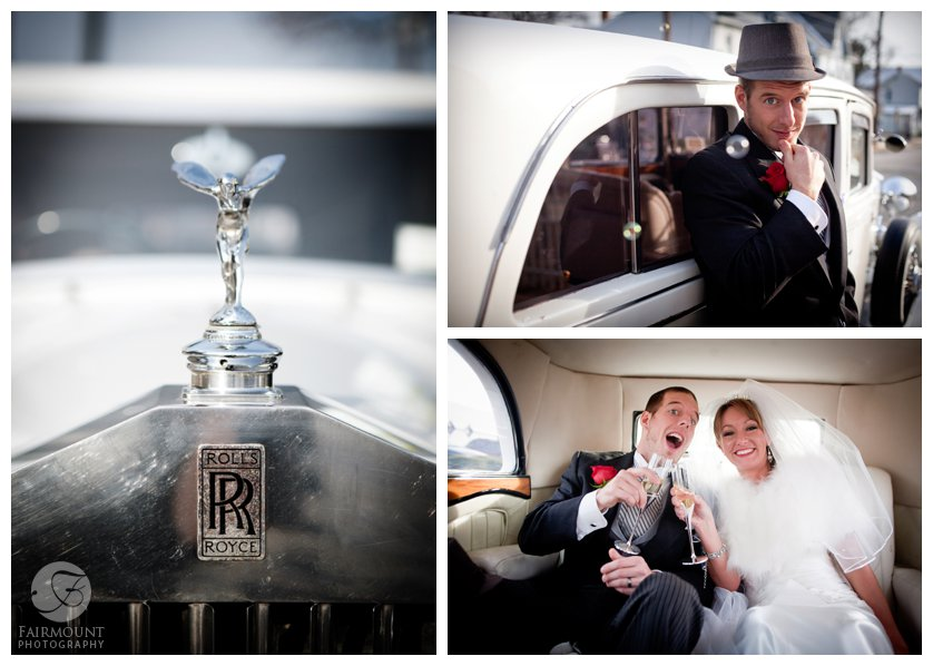Groom looks dapper leaning against a white Rolls Royce, and inside the antique car bride & groom have a champagne toast