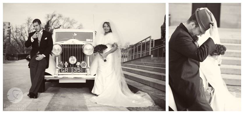 Bride & groom vintage wedding portraits with white Rolls Royce behind Philadelphia Museum of Art