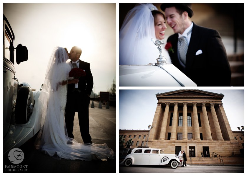 wedding portraits in front of Art Museum in Philadephia, PA