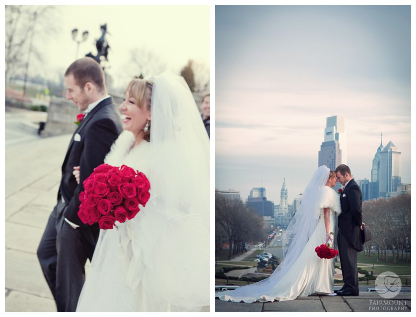 Bride and Groom at sunset with Philadelphia skyline in December
