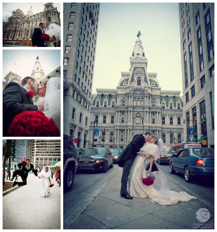 Bride and Groom kiss with Philadelphia City Hall in the background at December wedding