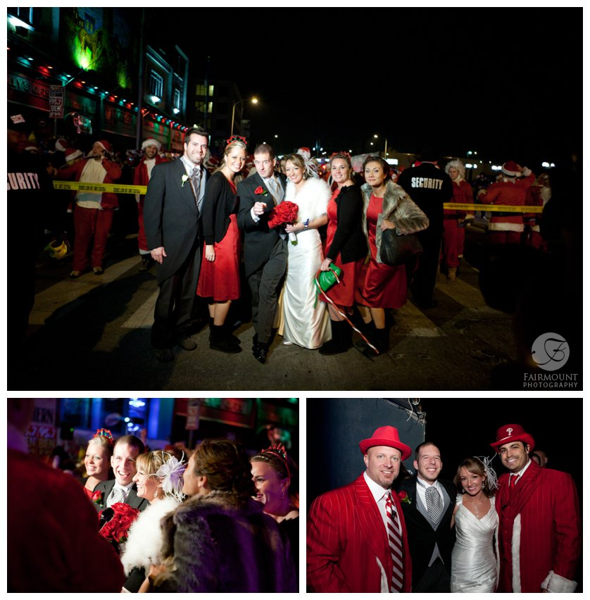 Bride & Groom with bridal party at the starting line of the Running of the Santas