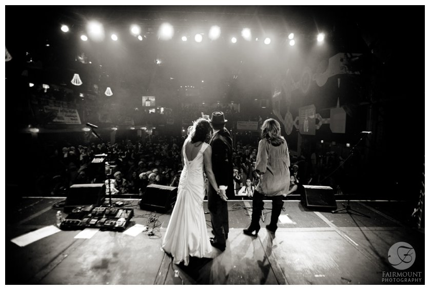 Bride & Groom are announced onto stage at the Electric Factory at the Running of the Santas concert
