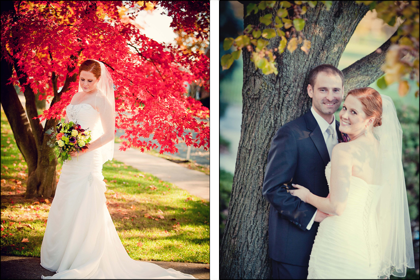 Autumn bridal portrait of beautiful couple