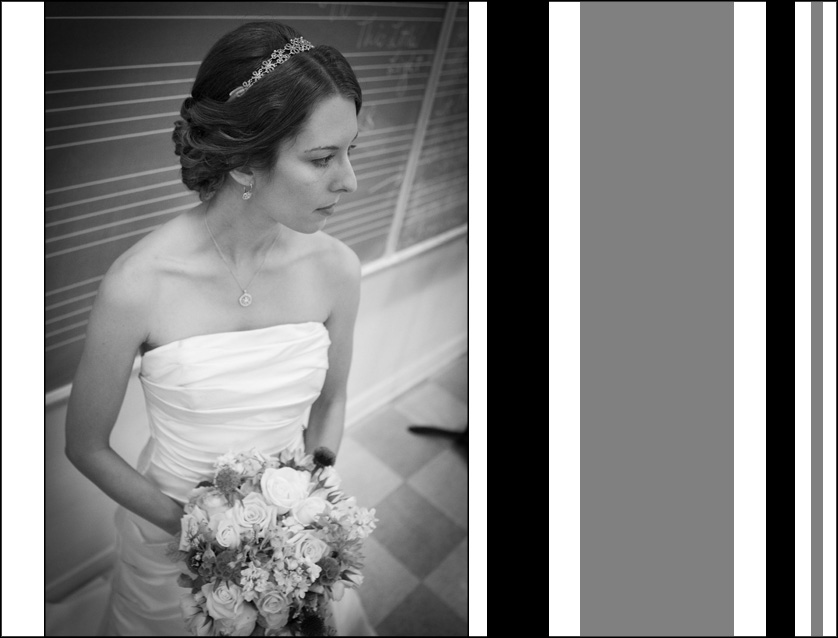 Black and white bridal portrait at the Presbyterian Church of Chestnut Hill