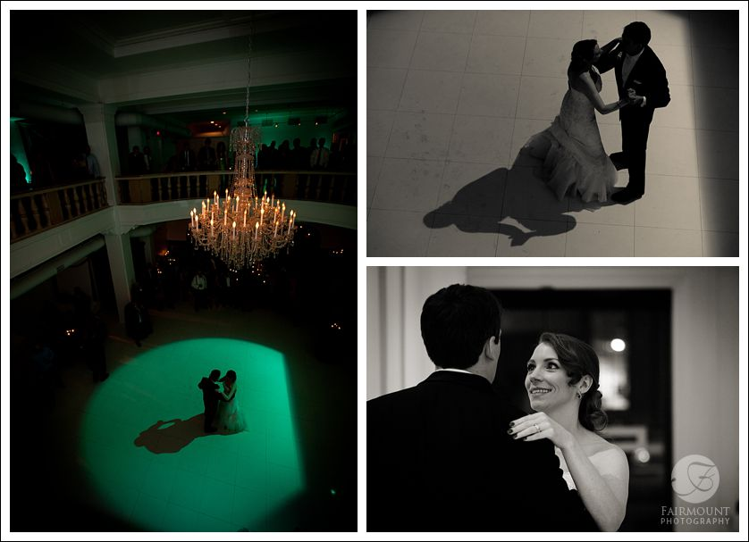 Bride & Groom's first dance at TRUST with green lighting on dance floor