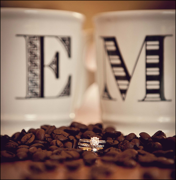 wedding rings and coffee grounds