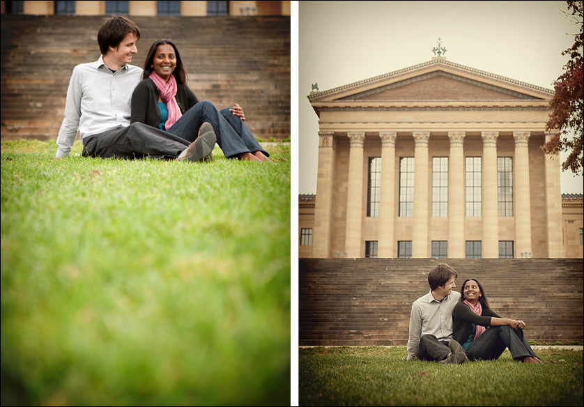 Engagement portraits at the Philadelphia Museum of Art