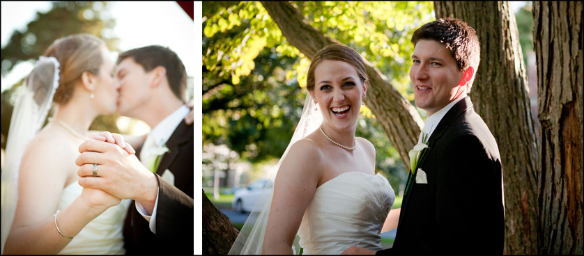 Gorgeous married couple laughs while being photographed at Muhlenberg College