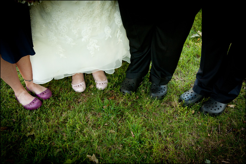 Wedding party wears Crocs instead of fancy shoes