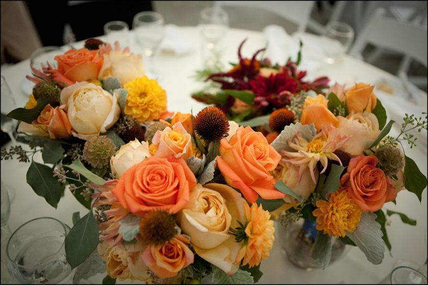 warm wedding flowers