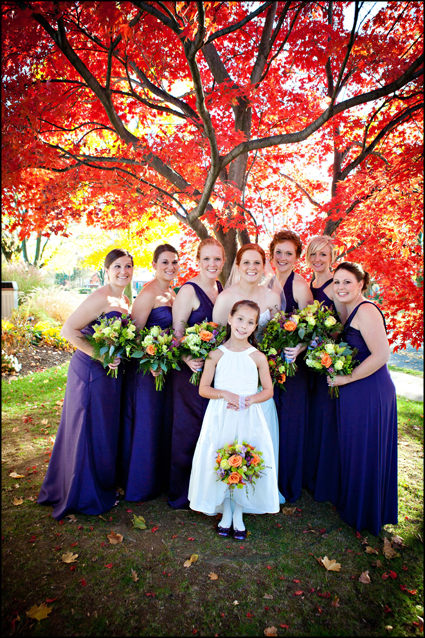 Gorgeous Japanese Maple tree with wedding party