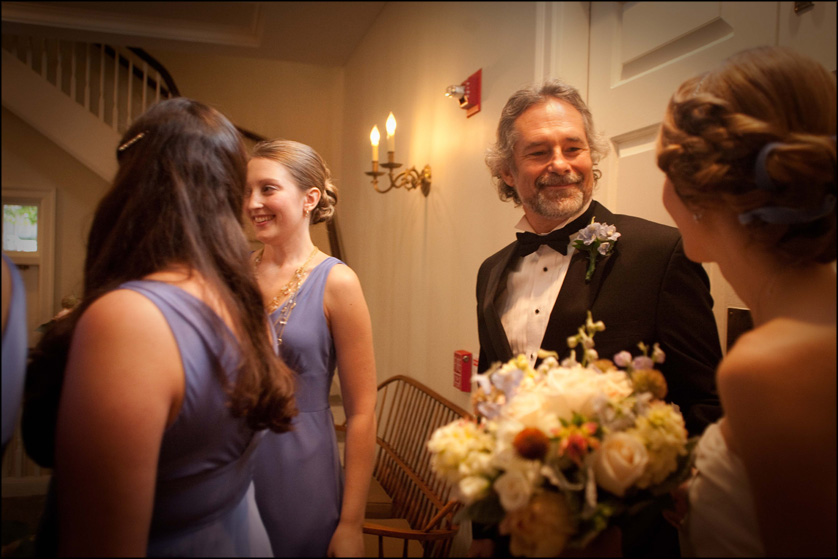 Father of the bride has a moment with his daughter before the ceremony at Presbyterian Church of Chestnut Hill