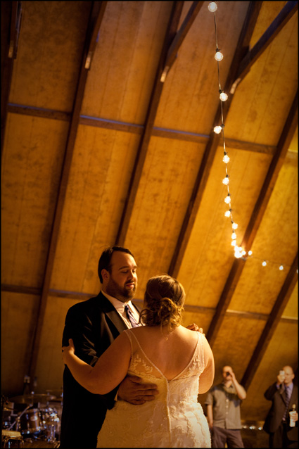 yellow lights and a couple's first dance