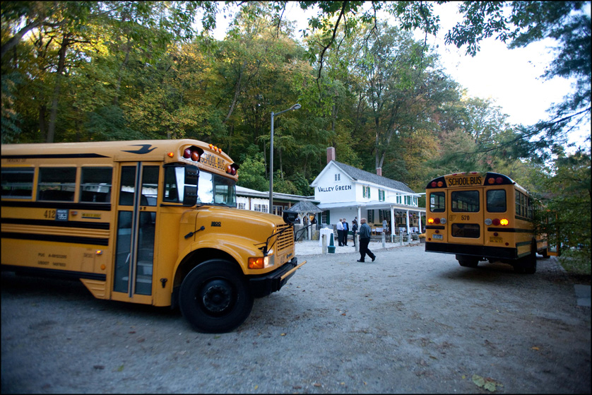 bus transportation at wedding reception at Valley Green Inn