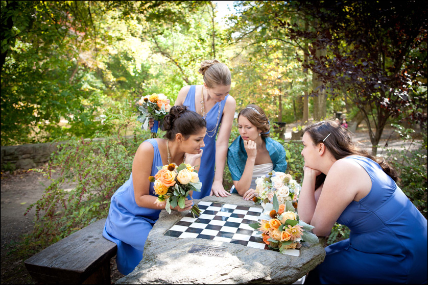 Bridal party plays chess game in Valley Green
