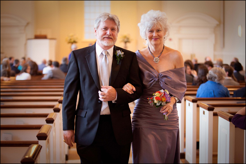 Groom's parents happily walk down the aisle at Presbyterian Church of Chestnut Hill