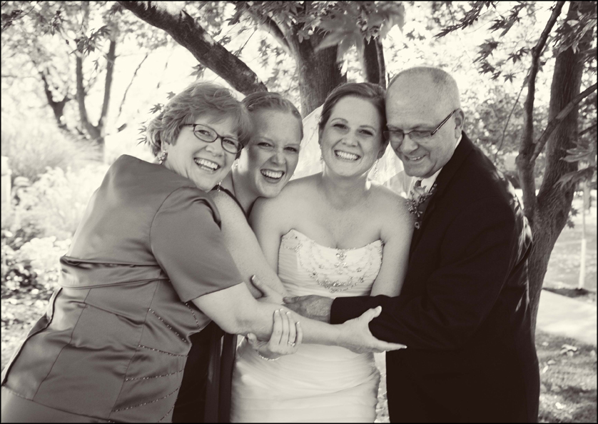 happy family on wedding day in Allentown, Pennsylvania