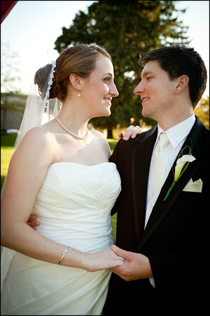 Wedding portrait of beautiful married couple at Muhlenberg College