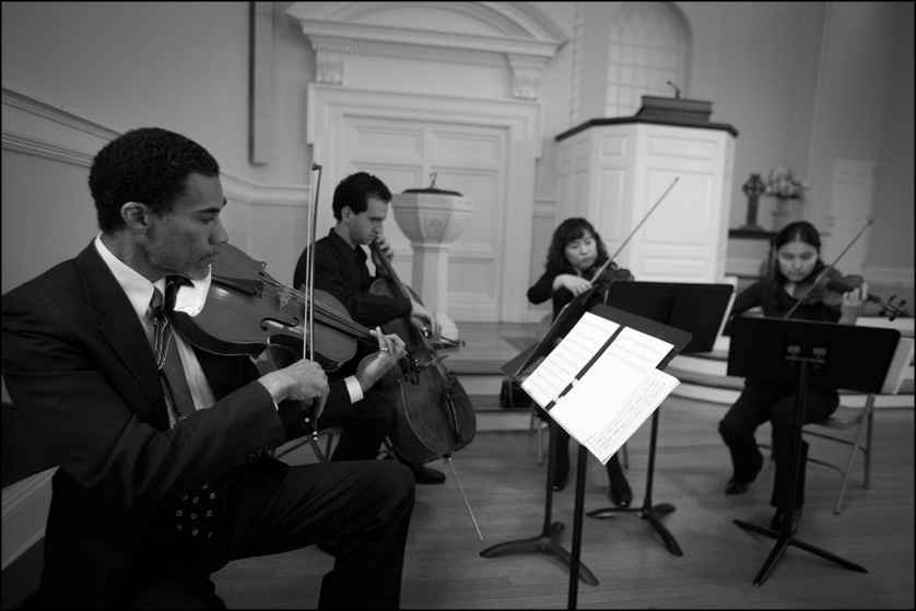 String quartet plays at Presbyterian Church of Chestnut Hill before wedding ceremony