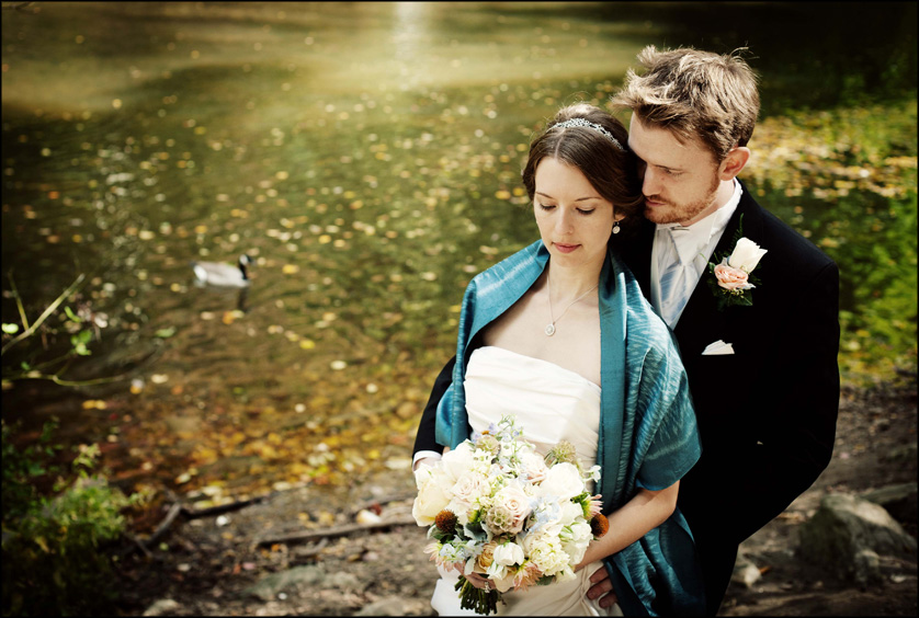 Wedding portrait by the Wissahickon Creek