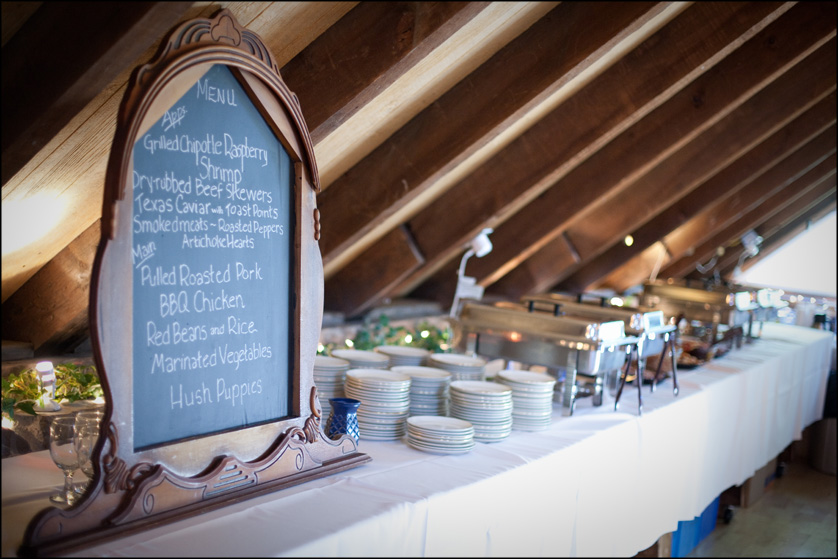 creative barn wedding reception menu on chalk board