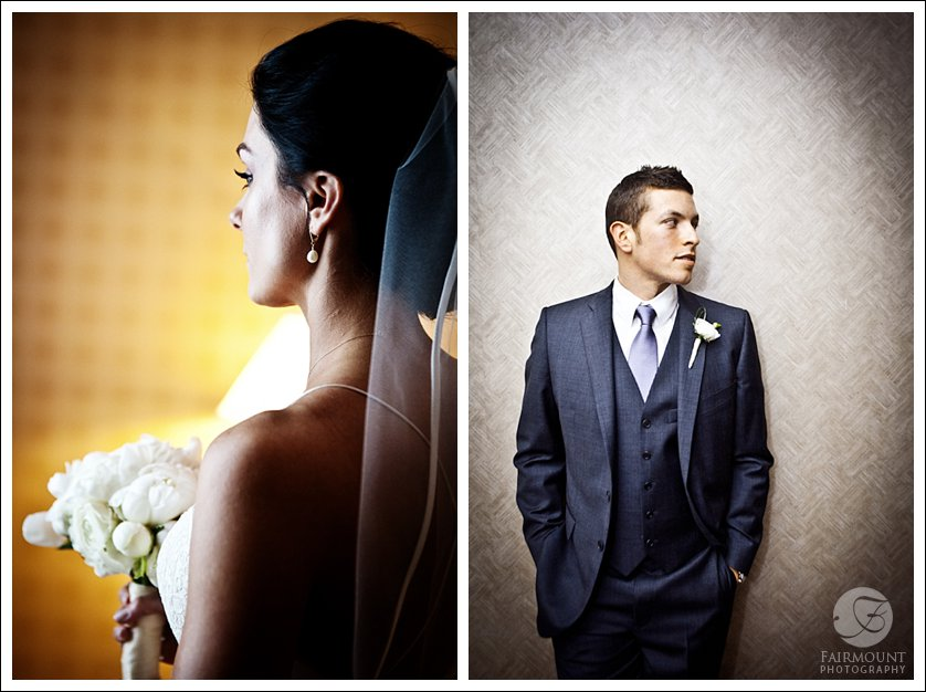 Bride with white flowers, groom with purple tie