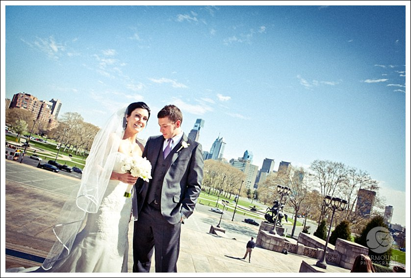 Bride & Groom with Philly skyline