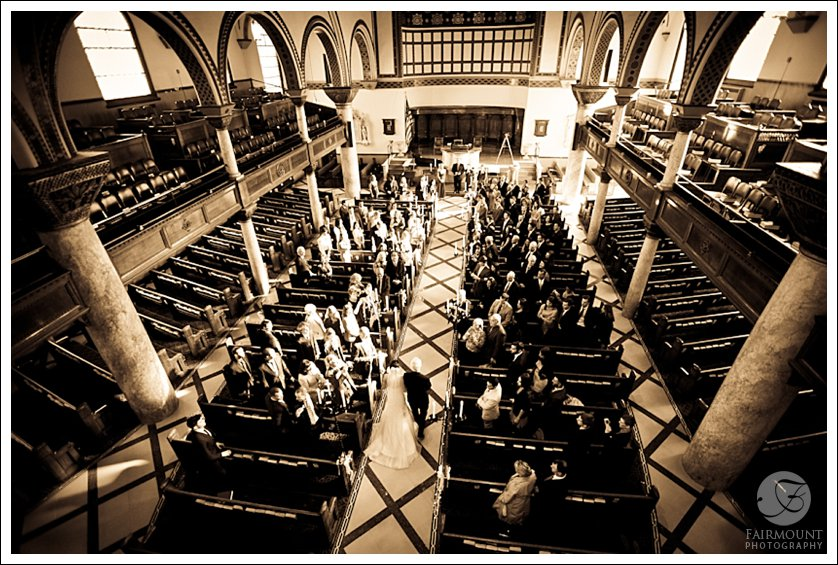 Bride walks down the aisle at 10th Presbyterian Church, Philadelphia, PA