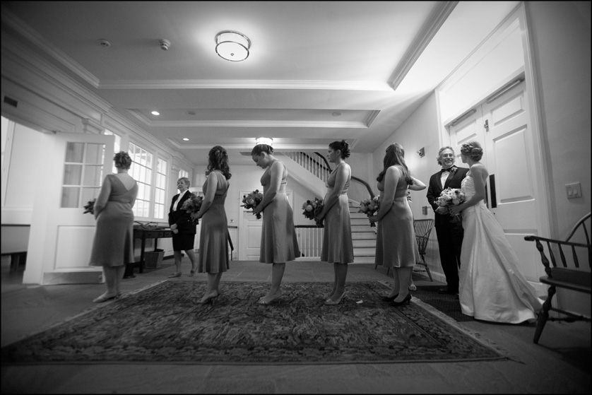 bridal party lining up at Presbyterian Church of Chestnut Hill