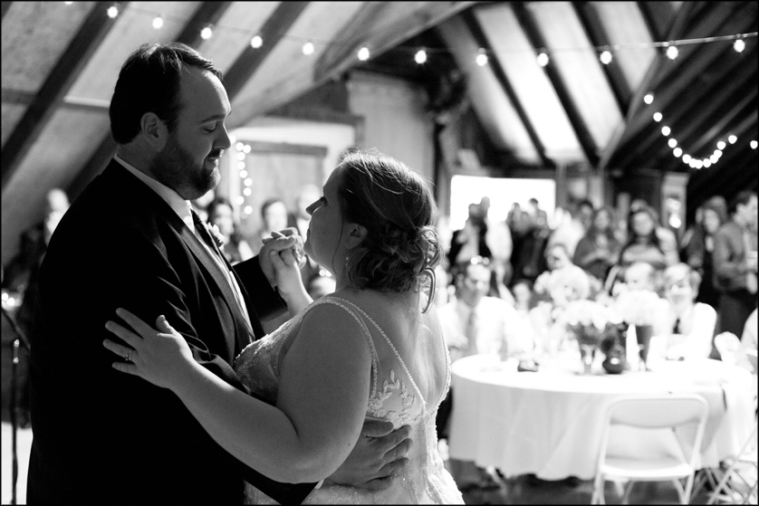 romantic barn wedding reception dancing