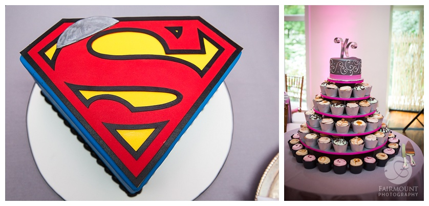 superman and cupcake cake