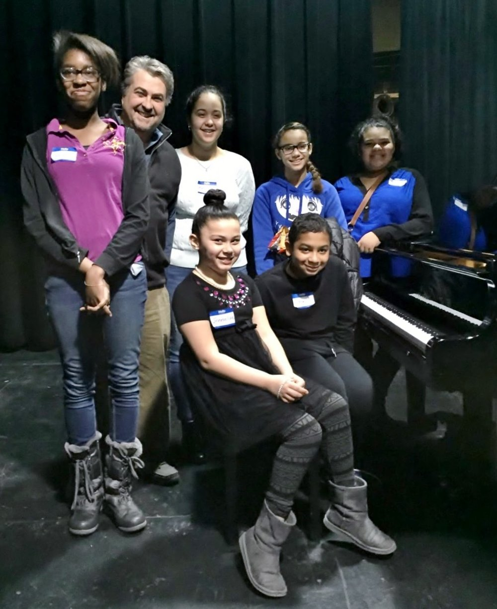 Peter and students Ravin Ann Yaniya Brianna Liza Jennalise Anthony FTC piano Feb 2016.jpg