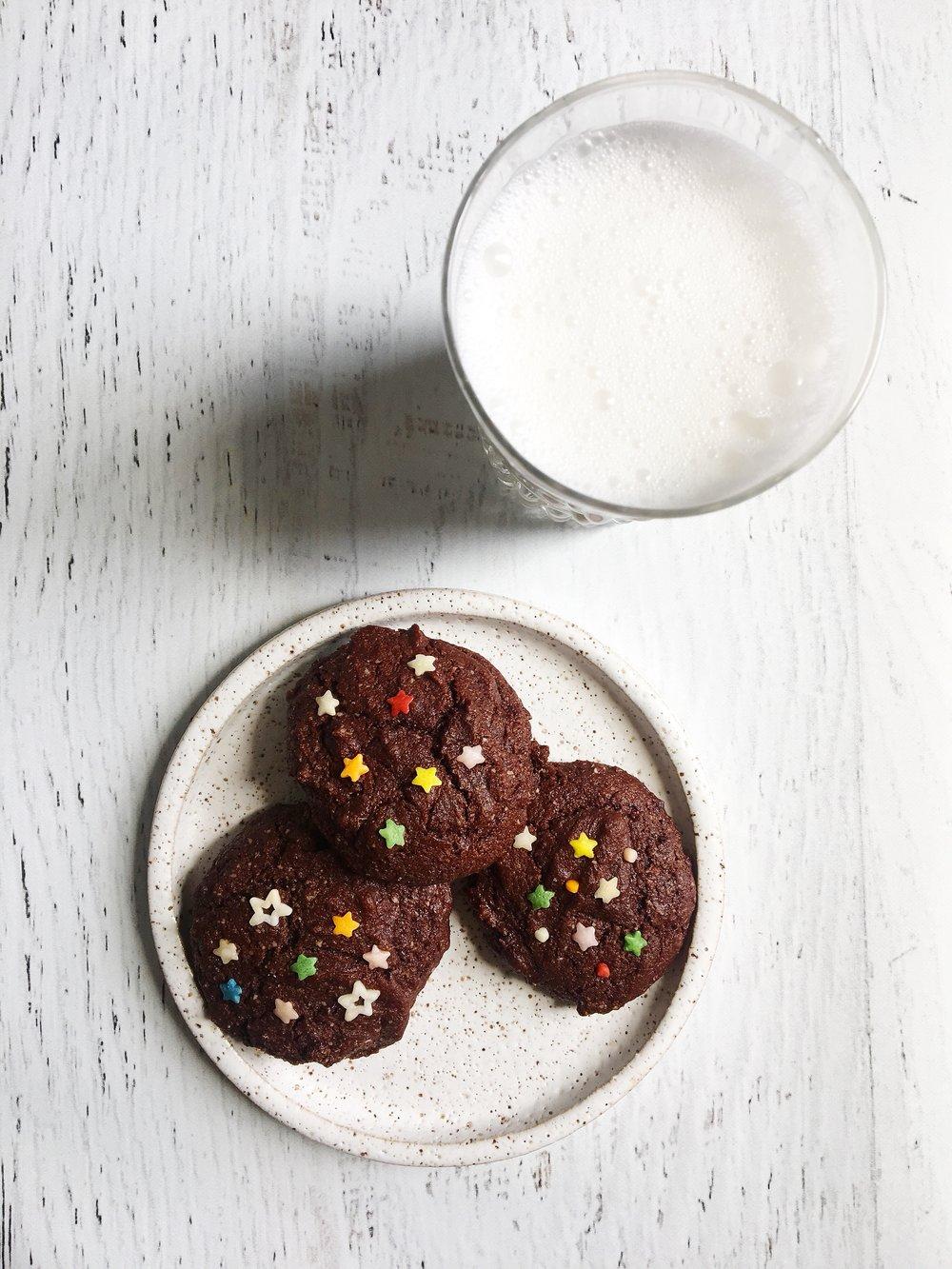 Double chocolate paleo cookies and cashew milk.JPG