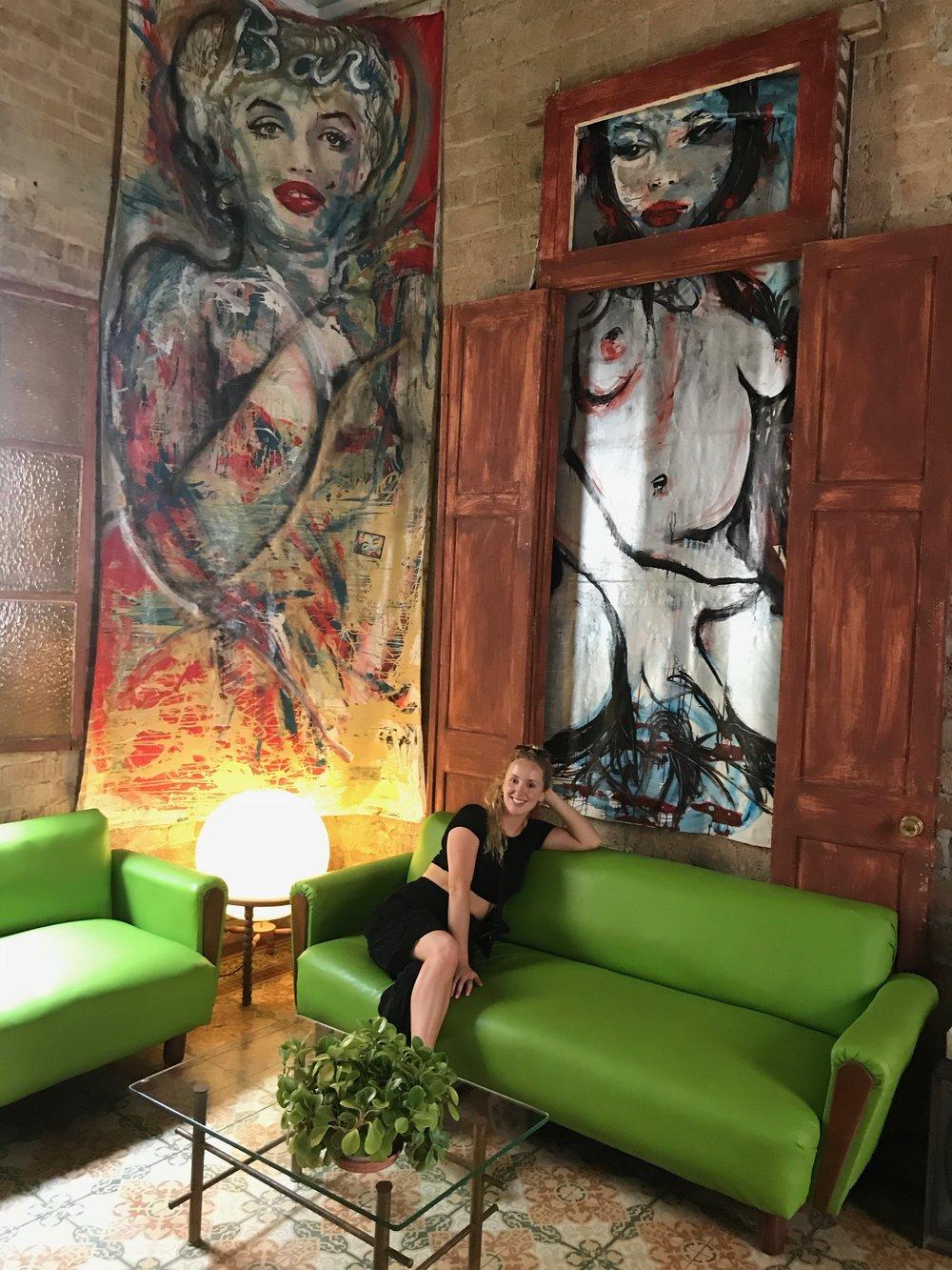 Green Mid Century Interiors Bar