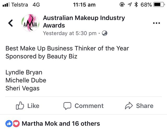 "Good news!! Makeup Artists Inc is a finalist in the Australian Makeup Industry Awards ""business thinker"" awards. This. Is such exciting news for us. #amia #beautyawards #makeupartistawards #beautybusiness"